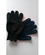 Перчатки черные с ПВХ (4-нитка)